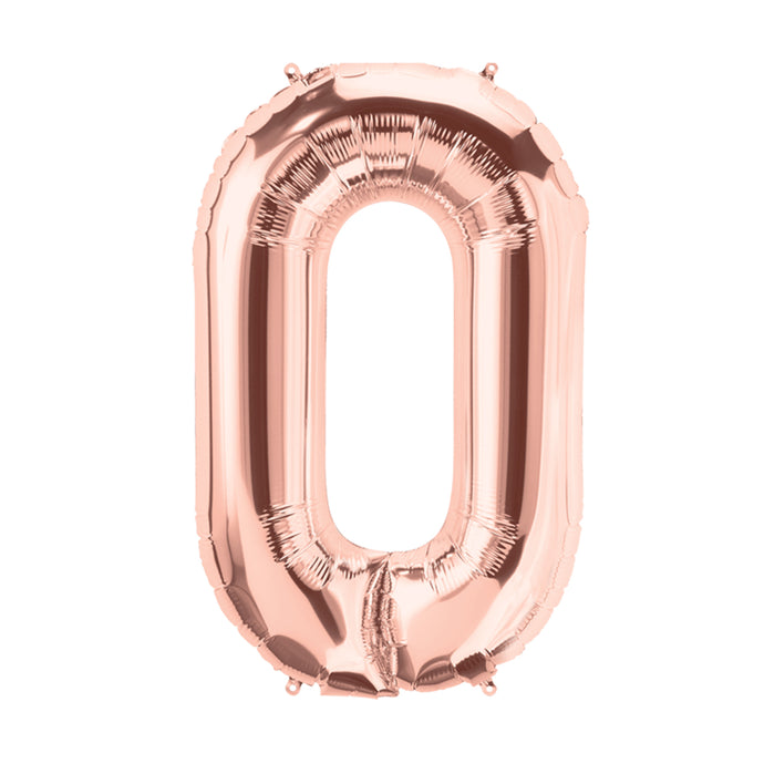 34in Number 0 Rose Gold Balloon