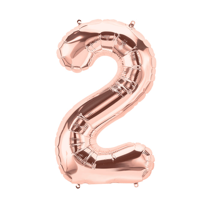 34in Number 2 Rose Gold Balloon