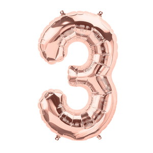 34in Number 3 Rose Gold Balloon