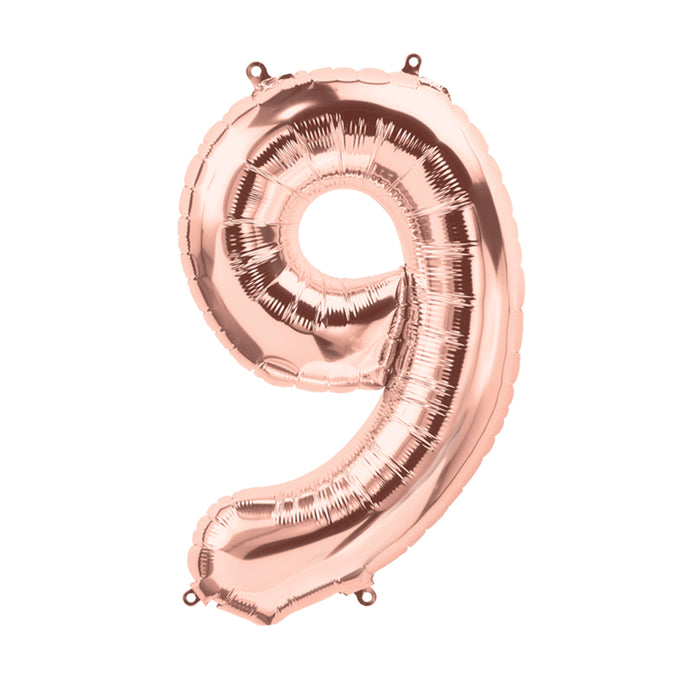 34in Number 9 Rose Gold Balloon