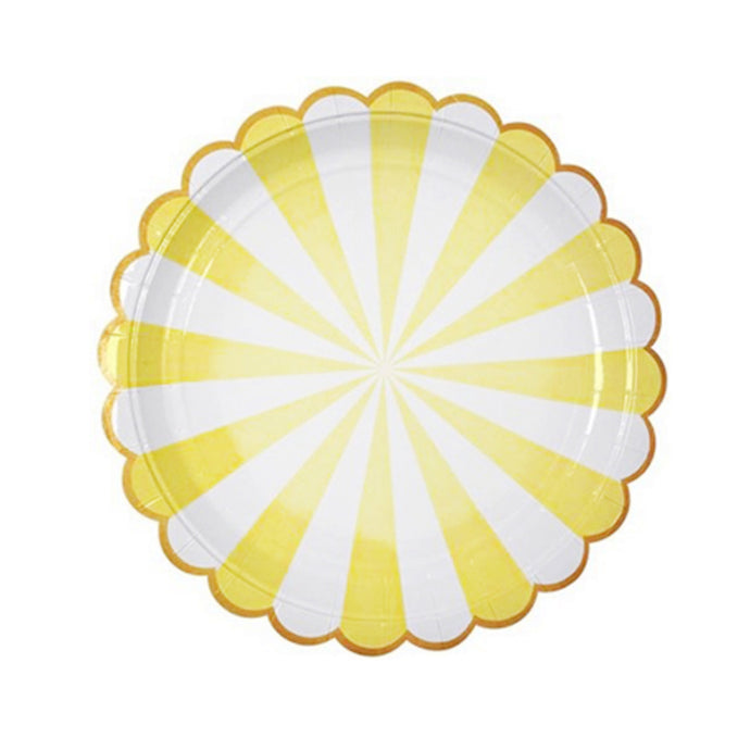Yellow Stripe Large Paper Plates - 8 Pack