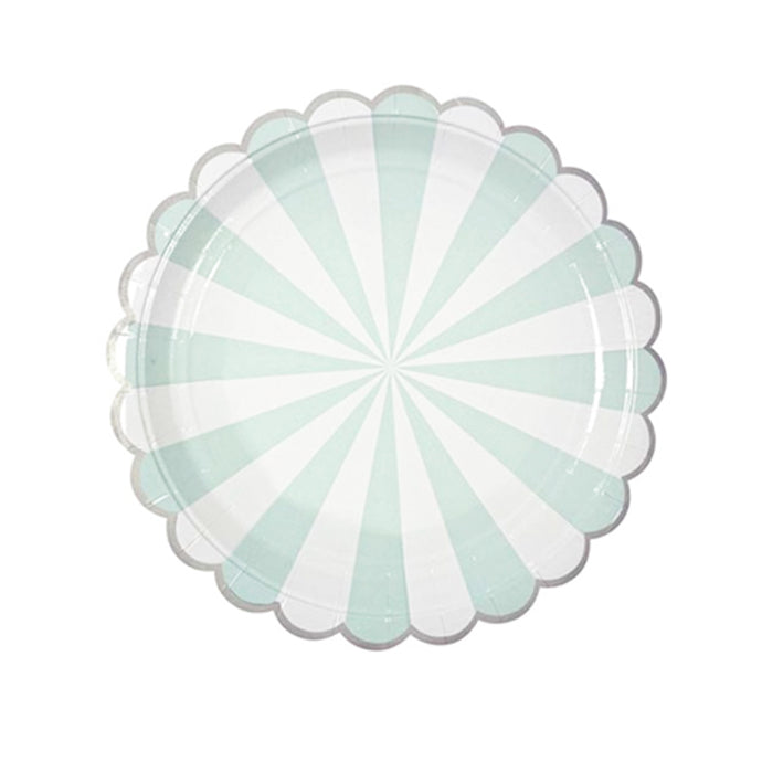Mint Green Stripe Large Paper Plates - 8 Pack