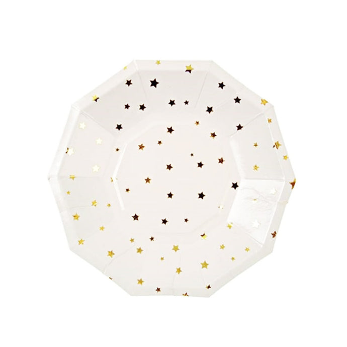 Gold Stars Small Paper Plates - 8 Pack