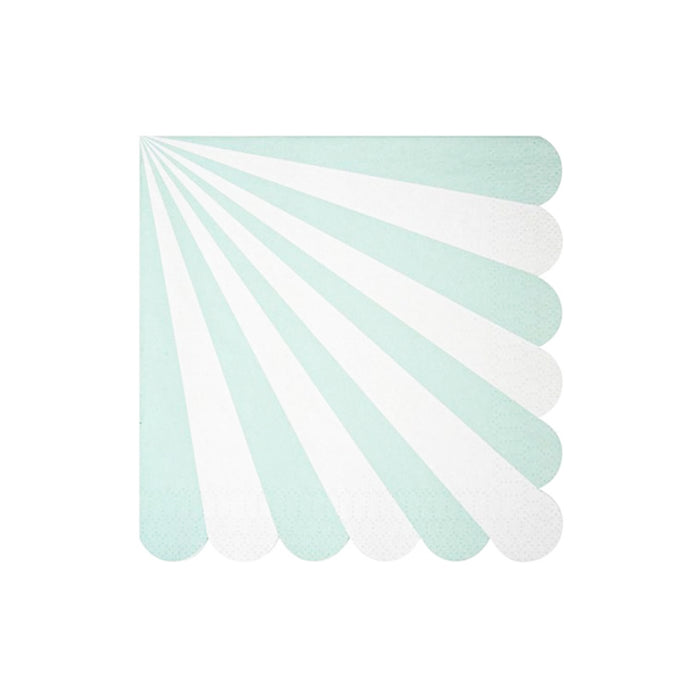 Mint Green Stripe Large Paper Napkins - 20 Pack