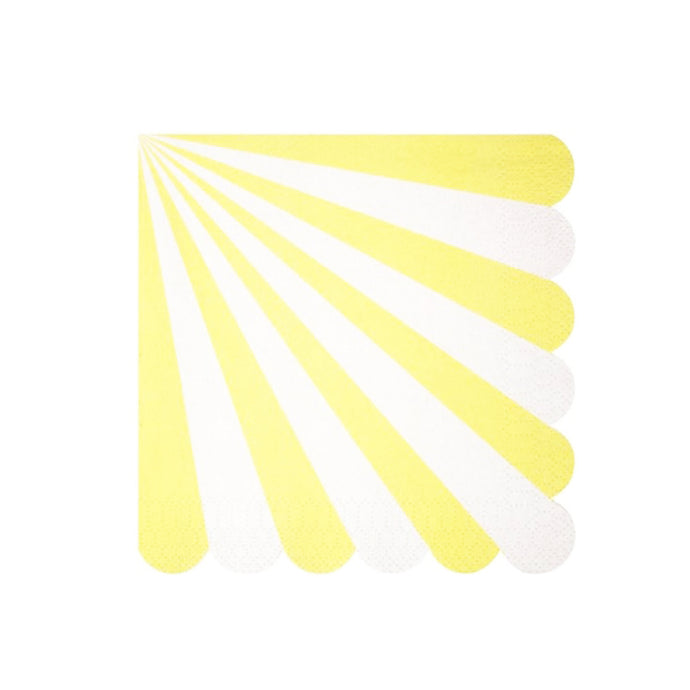 Yellow Stripe Large Paper Napkins - 20 Pack