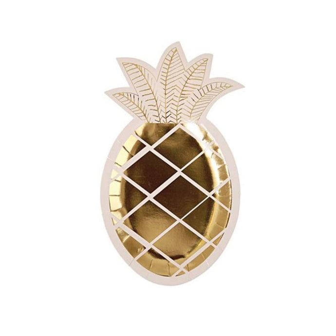 Gold Pineapple Paper Plates 8 Pack