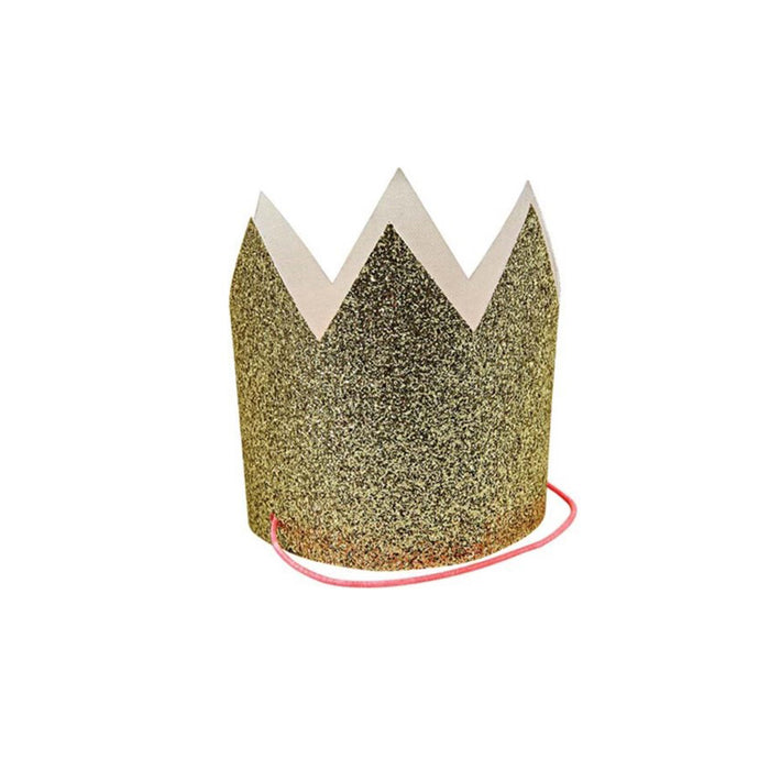 Mini Gold Glitter Crowns - 8 Pack