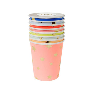 8 Multicolor Stars Paper Cups - 8 Pack