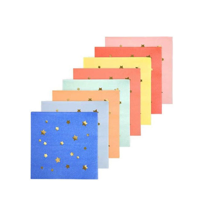 8 Multicolor Star Small Napkins - 16 Pack