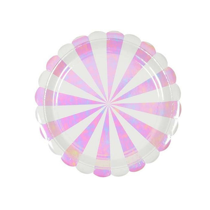 Iridescent Stripe Large Paper Plates - 8 Pack