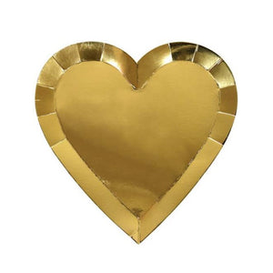 Metallic Gold Heart Large Paper Plates