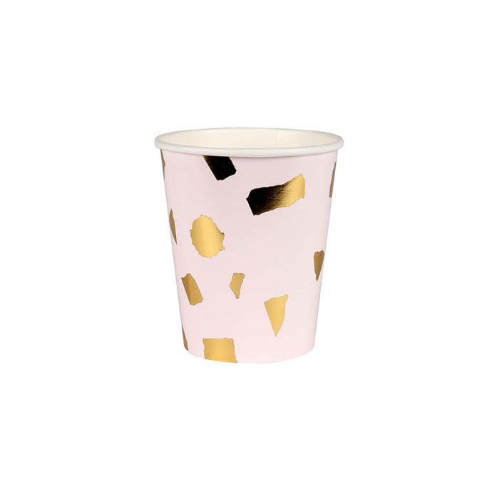 Pink Confetti Paper Cups - 8 Pack