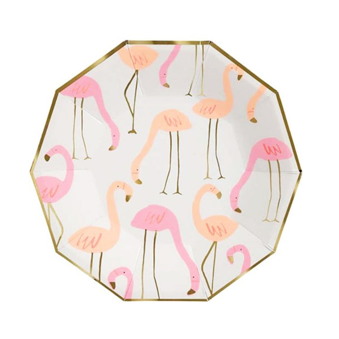 Neon Flamingo Large Paper Plates - 8 Pack