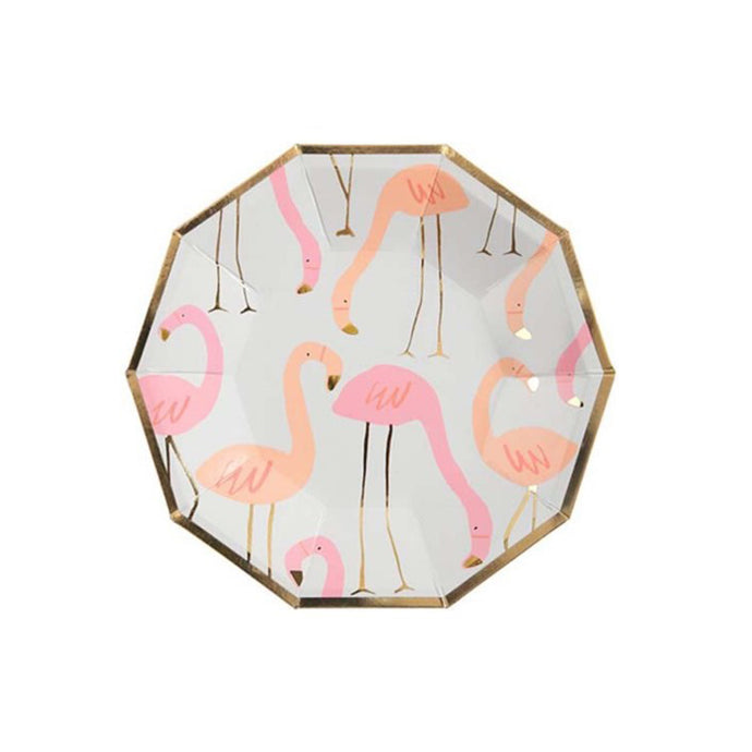 Neon Flamingo Small Paper Plates - 8 Pack