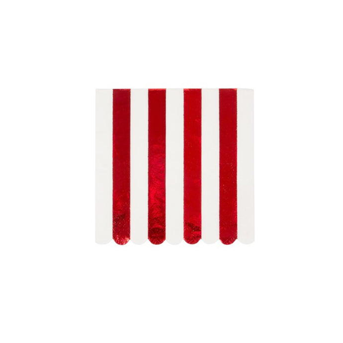 Red Foil Stripe Small Napkins