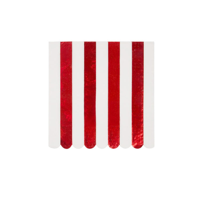 Red Foil Stripe Large Napkins