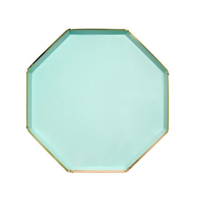 Mint Green Octagonal Large Paper Plates - 8 Pack