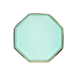 Mint Green Small Octagonal Paper Plates - 8 Pack