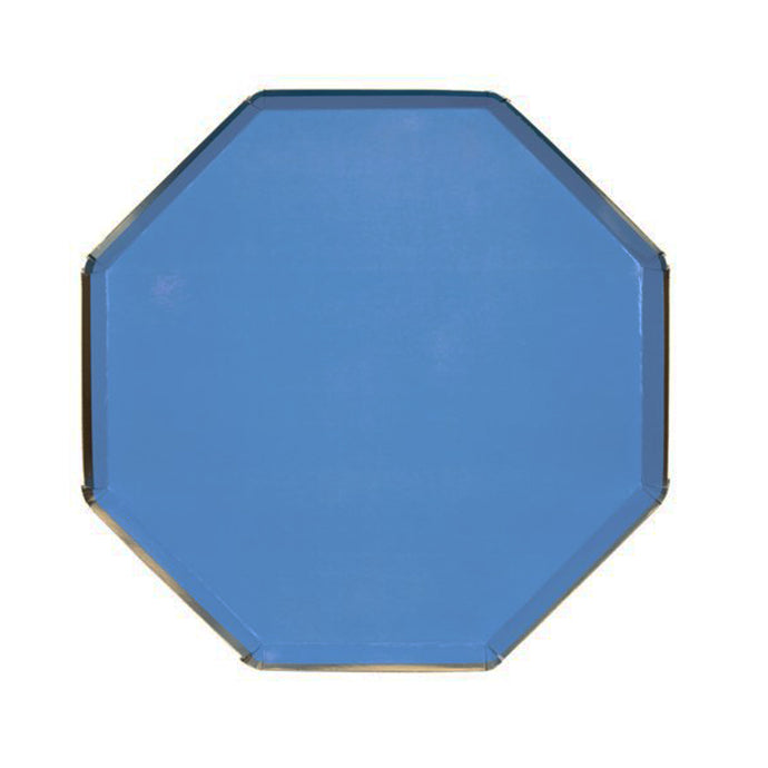 Dark Blue Large Octagonal Paper Plates - 8 Pack