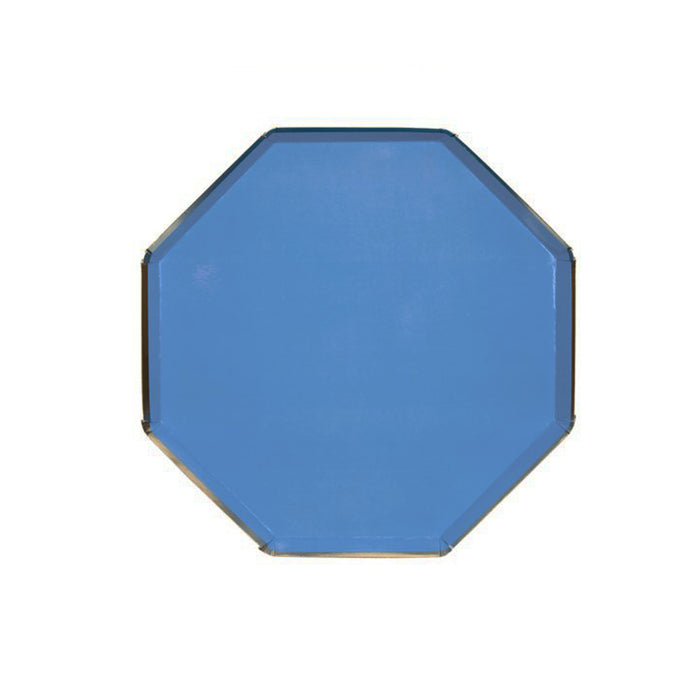 Dark Blue Small Octagonal Paper Plates - 8 Pack