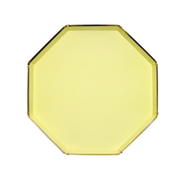 Yellow Large Octagonal Paper Plates - 8 Pack