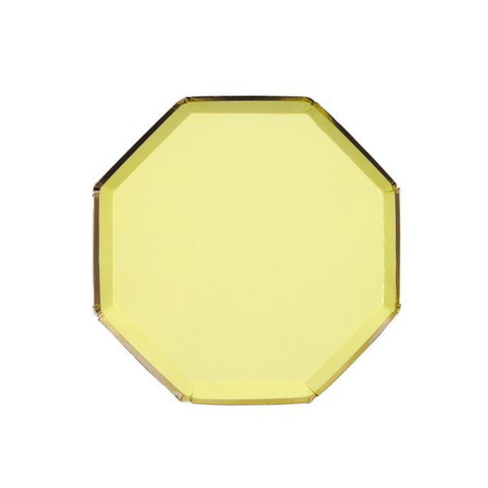 Yellow Small Octagonal Paper Plates -8 Pack