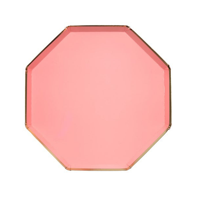 Neon Coral Large Octagonal Paper Plates - 8 Pack