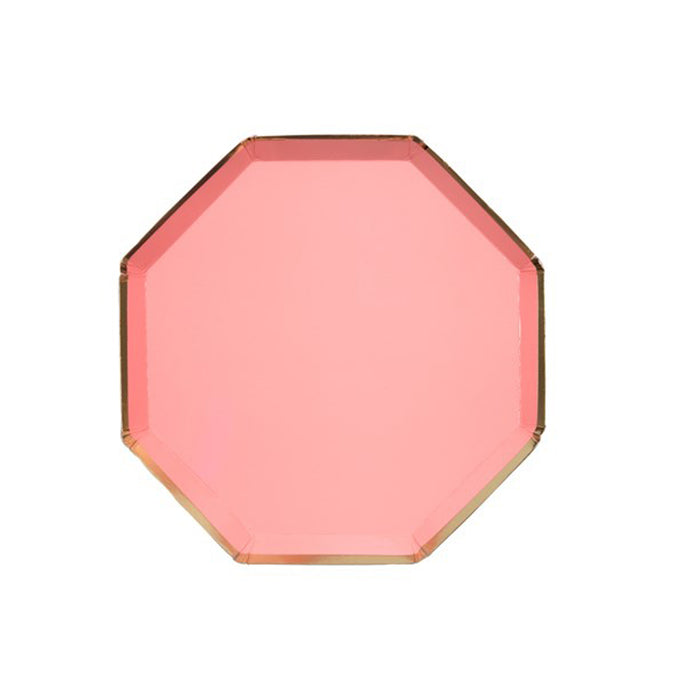 Neon Coral Small Octagonal Paper Plates - 8 Pack