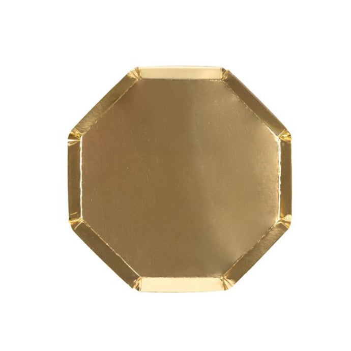 Metallic Gold Small Octagonal Paper Plates - 8 Pack