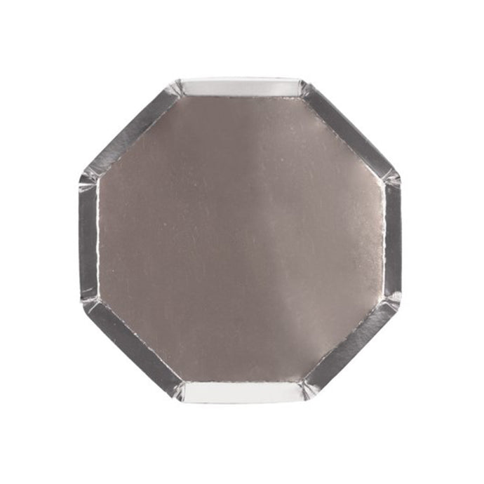 Metallic Silver Small Octagonal Paper Plates