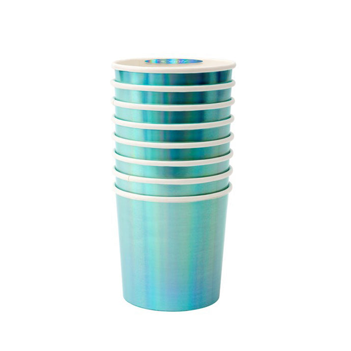 Holographic Blue Small Tumbler Paper Cups - 8 Pack