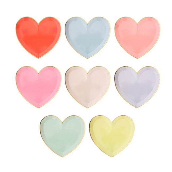 Assorted Colors Heart Large Paper Plates