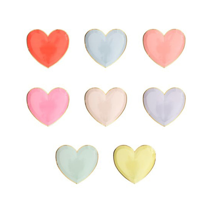 Assorted Colors Heart Small Paper Plates