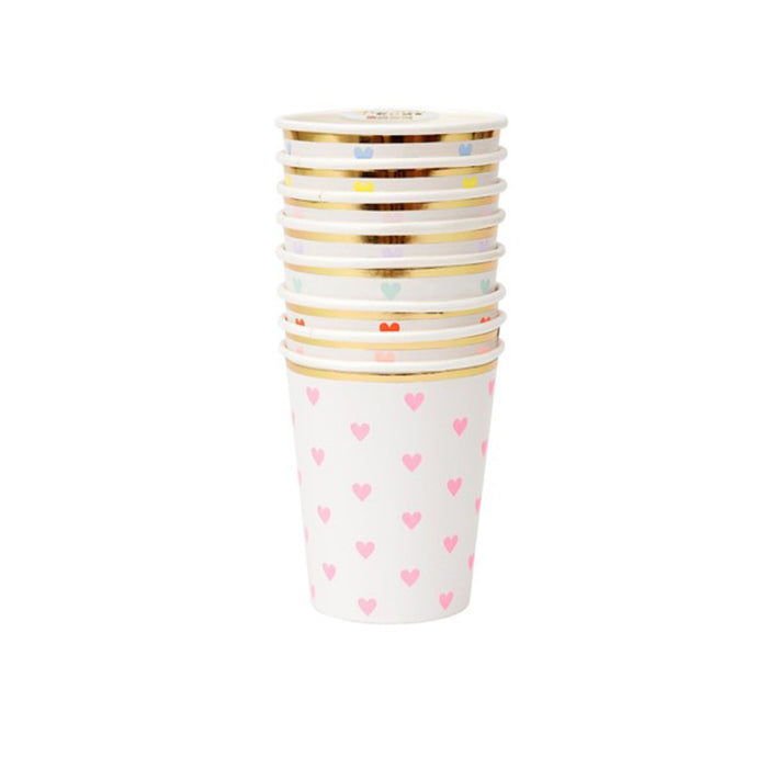 Assorted Colors Heart Paper Cups