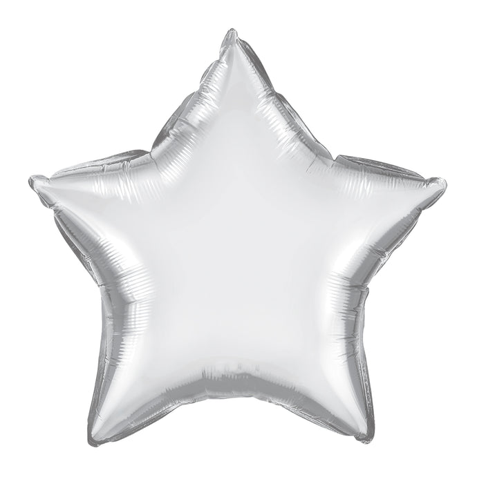 20in Chrome Silver Star Foil Shape Balloon
