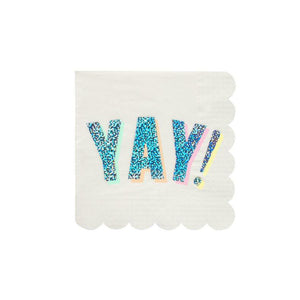 YAY Sparkly Silver Small Paper Napkins - 16 Pack