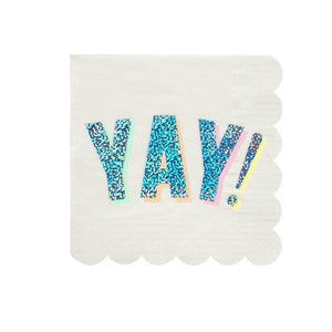 YAY Sparkly Silver Large Paper Napkins - 16 Pack