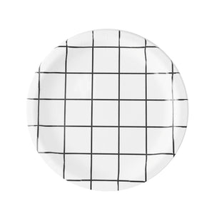 Black and White Grid Large Paper Plates