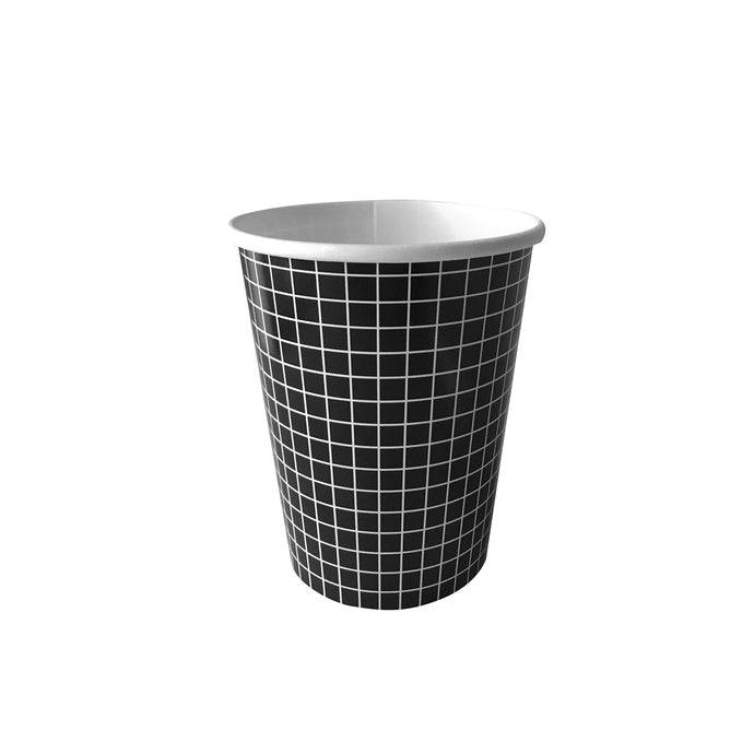 Black and White Grid Paper Cups - 10 Pack
