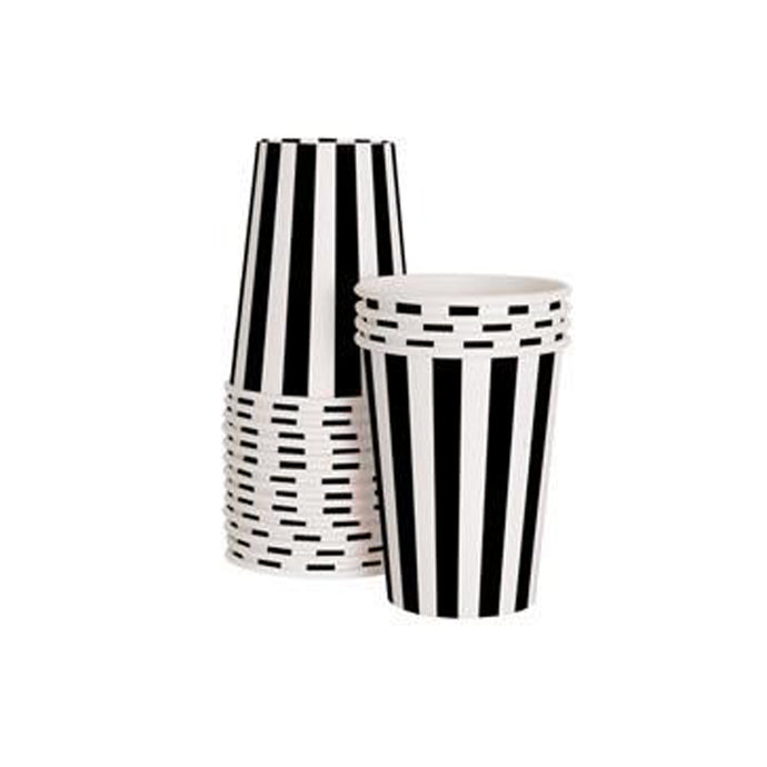 Black and White Stripe Paper Cups - 12 Pack