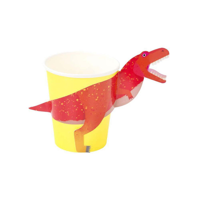 Party Dinosaurs Paper Cups with T-Rex Wrap - 12 Pack