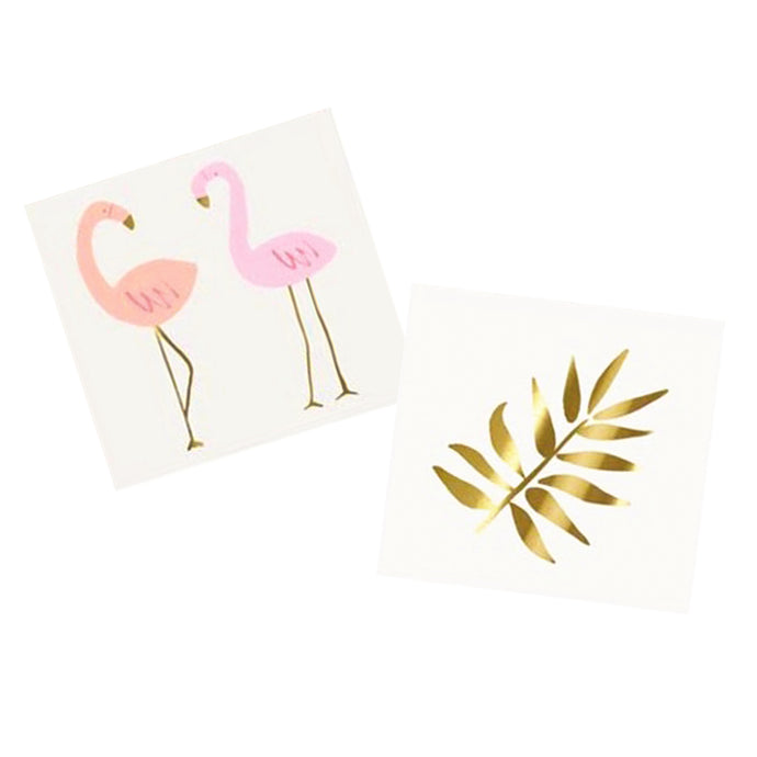 Flamingos + Gold Leaf Temporary Tattoos