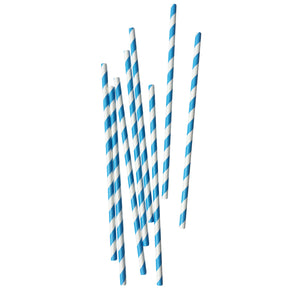 European Blue Stripe Paper Straws - 25 Pack