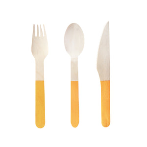 Wooden Cutlery Set Bright Orange - 24 Pack