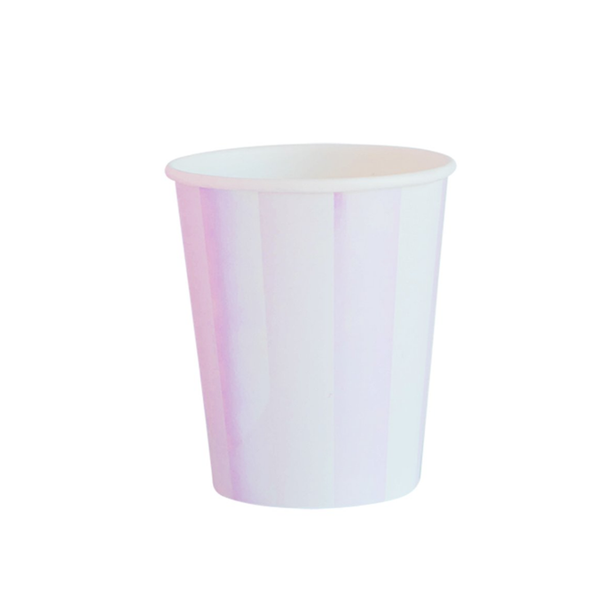 Iridescent Stripe Paper Cups - 8 Pack