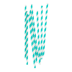 Robins Egg Stripe Paper Straws - 25 Pack