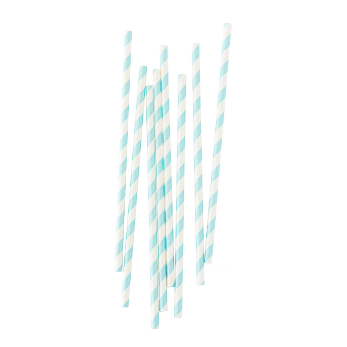 Pastel Blue Stripe Paper Straws - 25 Pack