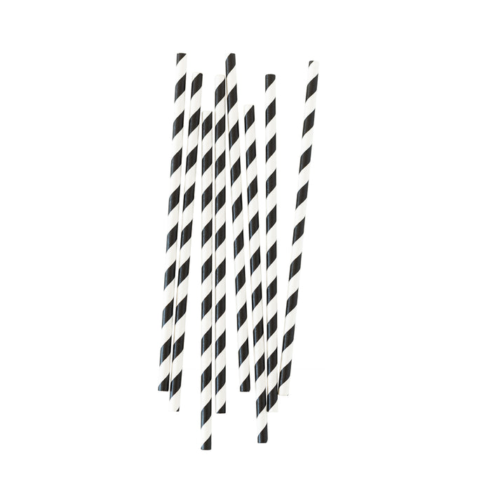 Black & White Stripe Paper Straws - 25 Pack