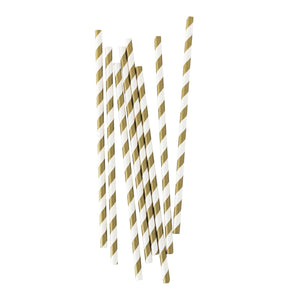 Metallic Gold Stripe Paper Straws - 25 Pack