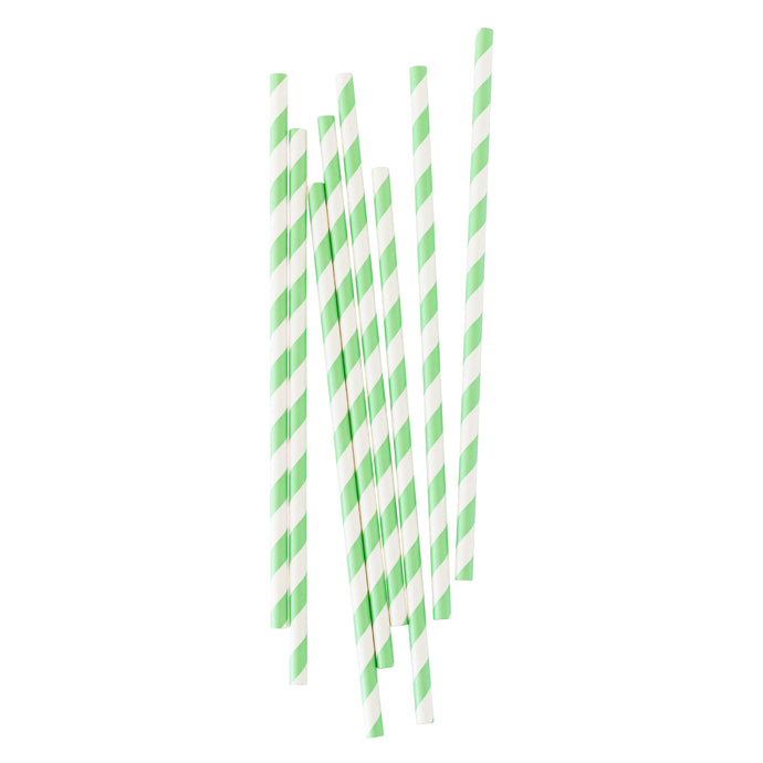 Mint Green Stripe Paper Straws - 25 Pack